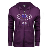 ENZA Ladies Purple Fleece Full Zip Hoodie-Just Kick It Soccer Design