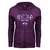 ENZA Ladies Purple Fleece Full Zip Hoodie-Just Kick It Soccer Design