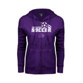 ENZA Ladies Purple Fleece Full Zip Hoodie-Soccer Swoosh Design