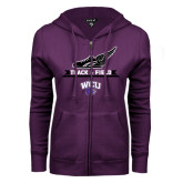 ENZA Ladies Purple Fleece Full Zip Hoodie-Track and Field Side Shoe Design