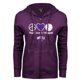 ENZA Ladies Purple Fleece Full Zip Hoodie-Peace Love and Volleyball Design