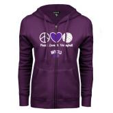 ENZA Ladies Purple Fleece Full Zip Hoodie-Peace Love and Volleyball Design