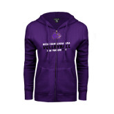ENZA Ladies Purple Fleece Full Zip Hoodie-Can You Dig It - Volleyball Design