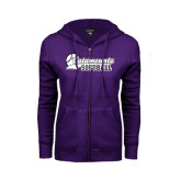 ENZA Ladies Purple Fleece Full Zip Hoodie-Softball Script Design