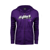ENZA Ladies Purple Fleece Full Zip Hoodie-Softball Script w/ Bat Design