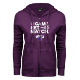 ENZA Ladies Purple Fleece Full Zip Hoodie-Game Set Match Tennis Design