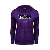 ENZA Ladies Purple Fleece Full Zip Hoodie-Tennis Player Design