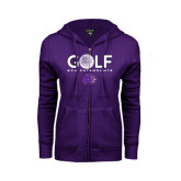 ENZA Ladies Purple Fleece Full Zip Hoodie-Golf Ball Design
