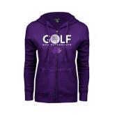 ENZA Ladies Purple Fleece Full Zip Hoodie-Golf Ball Design