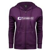ENZA Ladies Purple Fleece Full Zip Hoodie-Catamounts in Box