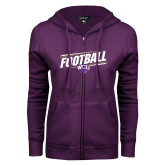 ENZA Ladies Purple Fleece Full Zip Hoodie-Football Fancy Lines
