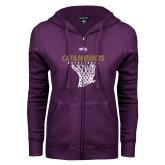 ENZA Ladies Purple Fleece Full Zip Hoodie-Basketball Net Design