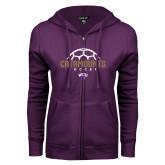 ENZA Ladies Purple Fleece Full Zip Hoodie-Soccer Half Ball Design