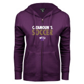 ENZA Ladies Purple Fleece Full Zip Hoodie-Soccer Stacked
