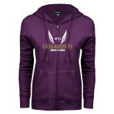 ENZA Ladies Purple Fleece Full Zip Hoodie-Wings Track and Field