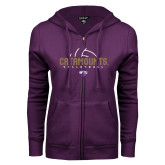 ENZA Ladies Purple Fleece Full Zip Hoodie-Abstract Volleyball