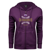 ENZA Ladies Purple Fleece Full Zip Hoodie-Softball Seams Design