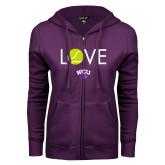 ENZA Ladies Purple Fleece Full Zip Hoodie-Love Tennis