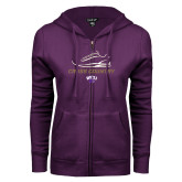 ENZA Ladies Purple Fleece Full Zip Hoodie-Cross Country Shoe Design