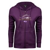ENZA Ladies Purple Fleece Full Zip Hoodie-Cross Country Shoe Design