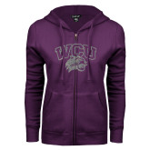 ENZA Ladies Purple Fleece Full Zip Hoodie-WCU w Wildcat Head Silver Soft Glitter
