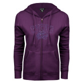 ENZA Ladies Purple Fleece Full Zip Hoodie-WCU w Wildcat Head Purple Glitter