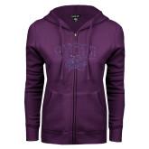 ENZA Ladies Purple Fleece Full Zip Hoodie-WCU w Wildcat Head Purple Glitter
