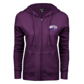 ENZA Ladies Purple Fleece Full Zip Hoodie-WCU w/Head