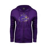 ENZA Ladies Purple Fleece Full Zip Hoodie-Catamount Head