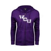ENZA Ladies Purple Fleece Full Zip Hoodie-WCU