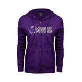 ENZA Ladies Purple Fleece Full Zip Hoodie-Track and Field