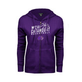 ENZA Ladies Purple Fleece Full Zip Hoodie-Basketball Stacked Design