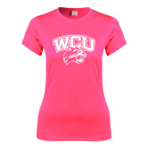 Ladies Performance Hot Pink Tee-WCU w/Head