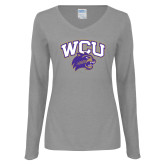 Ladies Grey Long Sleeve V Neck T Shirt-WCU w/Head
