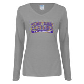 Ladies Grey Long Sleeve V Neck T Shirt-Western Carolina Catamounts