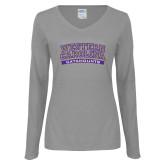 Ladies Grey Long Sleeve V Neck Tee-Western Carolina Catamounts