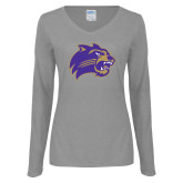 Ladies Grey Long Sleeve V Neck T Shirt-Catamount Head