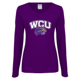 Ladies Purple Long Sleeve V Neck T Shirt-WCU w/Head