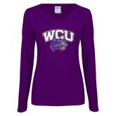 Ladies Purple Long Sleeve V Neck Tee-WCU w/Head