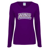 Ladies Purple Long Sleeve V Neck T Shirt-Western Carolina Catamounts