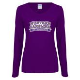 Ladies Purple Long Sleeve V Neck Tee-Western Carolina Catamounts