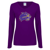 Ladies Purple Long Sleeve V Neck T Shirt-Catamount Head