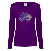 Ladies Purple Long Sleeve V Neck Tee-Catamount Head