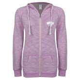 ENZA Ladies Hot Violet Marled Full Zip Hoodie-WCU w/Head