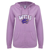 ENZA Ladies Hot Violet V Notch Raw Edge Fleece Hoodie-WCU w/Head