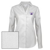 Ladies Red House Diamond Dobby White Long Sleeve Shirt-WCU w/Head