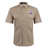 Khaki Short Sleeve Performance Fishing Shirt-WCU w/Head