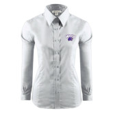 Ladies Red House White Long Sleeve Shirt-WCU w/Head