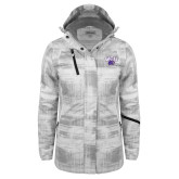Ladies White Brushstroke Print Insulated Jacket-WCU w/Head