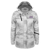 Ladies White Brushstroke Print Insulated Jacket-Western Carolina Catamounts